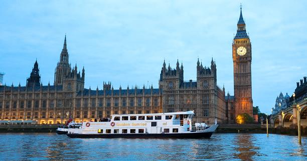 Golden Sunrise party boat outside the Houses of Parliament